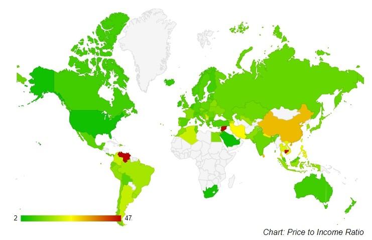▲▼2019年年中全球房價所得比。(圖/翻攝自numbeo網站)