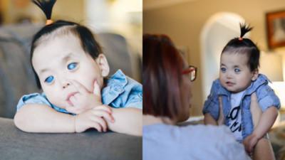 陸「藍眼女嬰」出生被拋棄…美夫婦越洋領養 學中文說「我愛你」