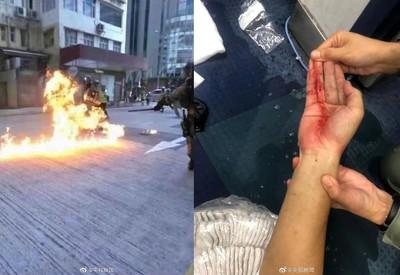 示威者投擲「汽油彈」襲警