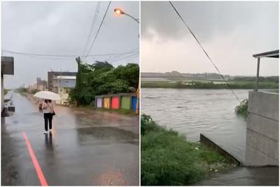 雲林市區道路狂淹 多鄉鎮一級淹水警戒