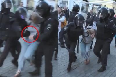 俄鎮暴警出拳重毆女示威者引眾怒