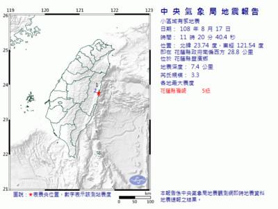 地牛翻身!花蓮11:20規模3.3地震
