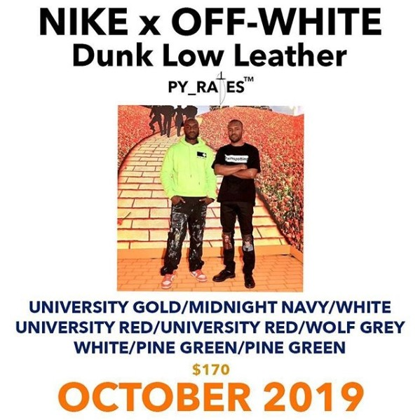 ▲Off-White X Futura X Nike SB Dunk Low三方聯名。(圖/翻攝自IG@virgilabloh、@hanzuying、@py_rates_、@sneakerjamz)
