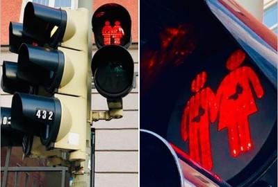 紅綠燈小人肚子有蝴蝶表示戀愛了