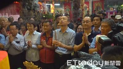 韓國瑜拜廟 「護衛隊」現身險與記者口角