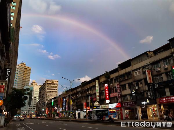 沒下雨的大台北有雙彩虹! 氣象局:水氣足加上陽光照射就會生成