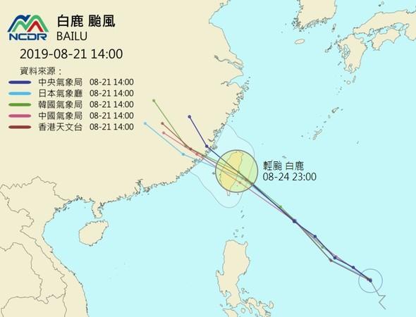 一張圖看白鹿颱風各國最新路徑! 「一致預測登台機率大」