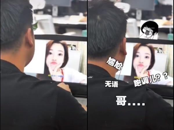 ▲粉絲在辦公室看偶像影片,本尊出現。(圖/翻攝自微博)