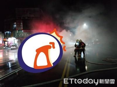 趕火警現場斷電!工程車擦撞成火球 他負傷急逃
