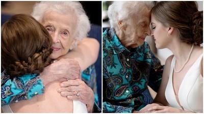 沒時間等到婚禮!新娘帶白紗飛去找102歲奶奶 拍下最後揪心合影