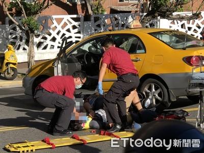 即/法務部前發生車禍 機車與小黃碰撞