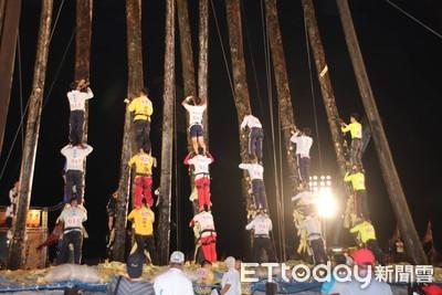 世界最難搶孤!疊羅漢爭36米高順風旗