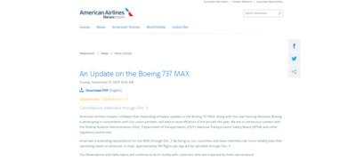 美航宣布繼續停飛波音737MAX