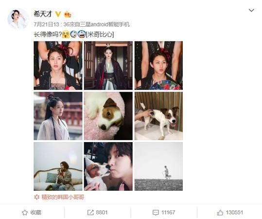 ▲金希澈在微博發文問粉絲自己和祝緒丹「長得像嗎?」。(圖/翻攝自金希澈微博)