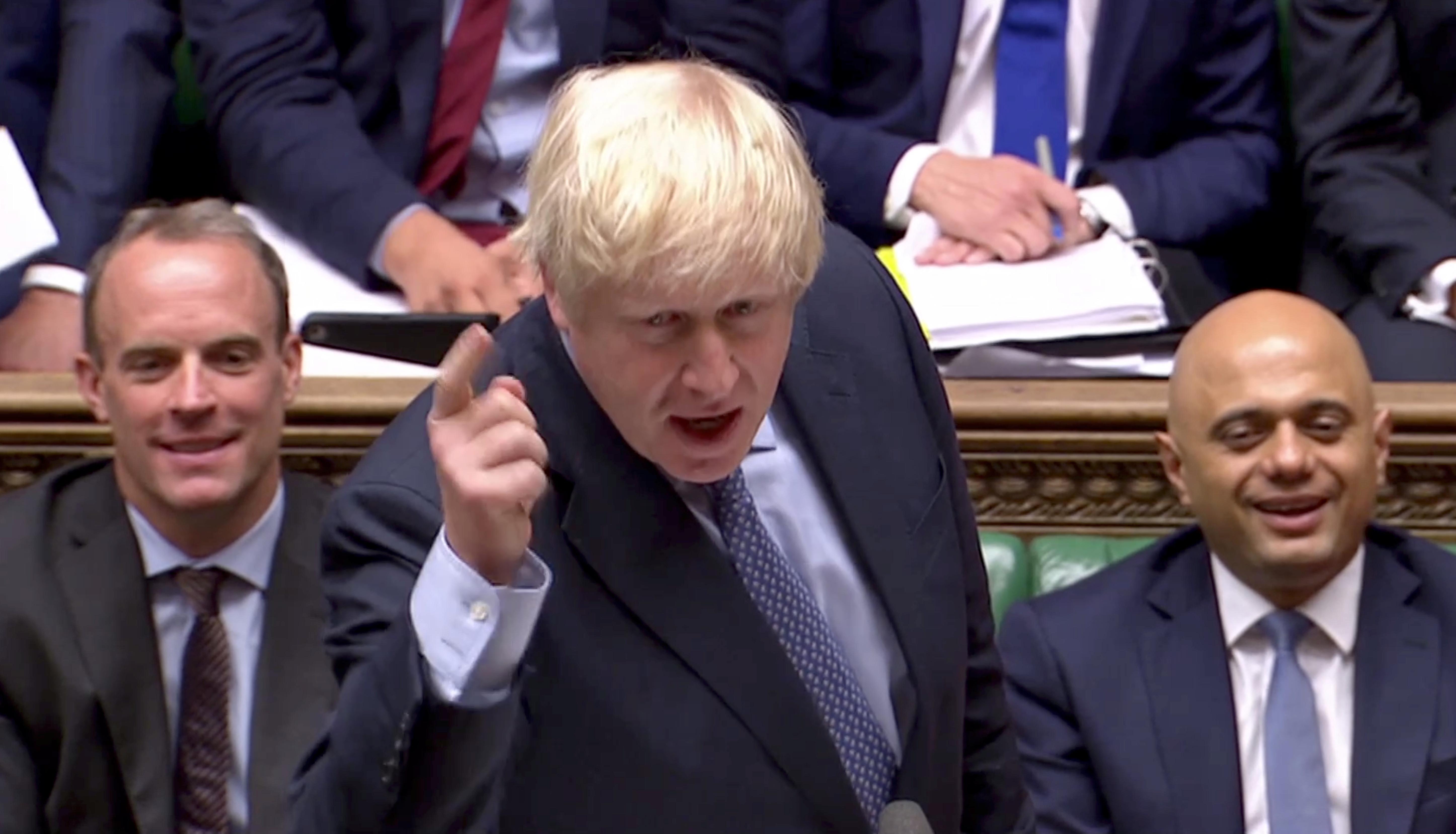 ▲▼英國首相強森(Boris Johnson)在下議院發言。(圖/路透)