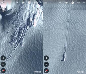 南極洲現「滑行痕跡+詭異雪堆」 網:UFO墜機現場