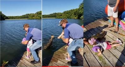 4歲女童用玩具釣竿釣起15公斤大鯰魚