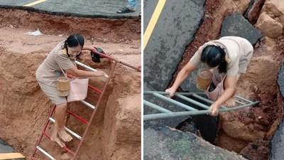 心繫村裡的孩子!女老師「赤腳爬斷路」堅持上課 短裙沾滿汙泥不在乎