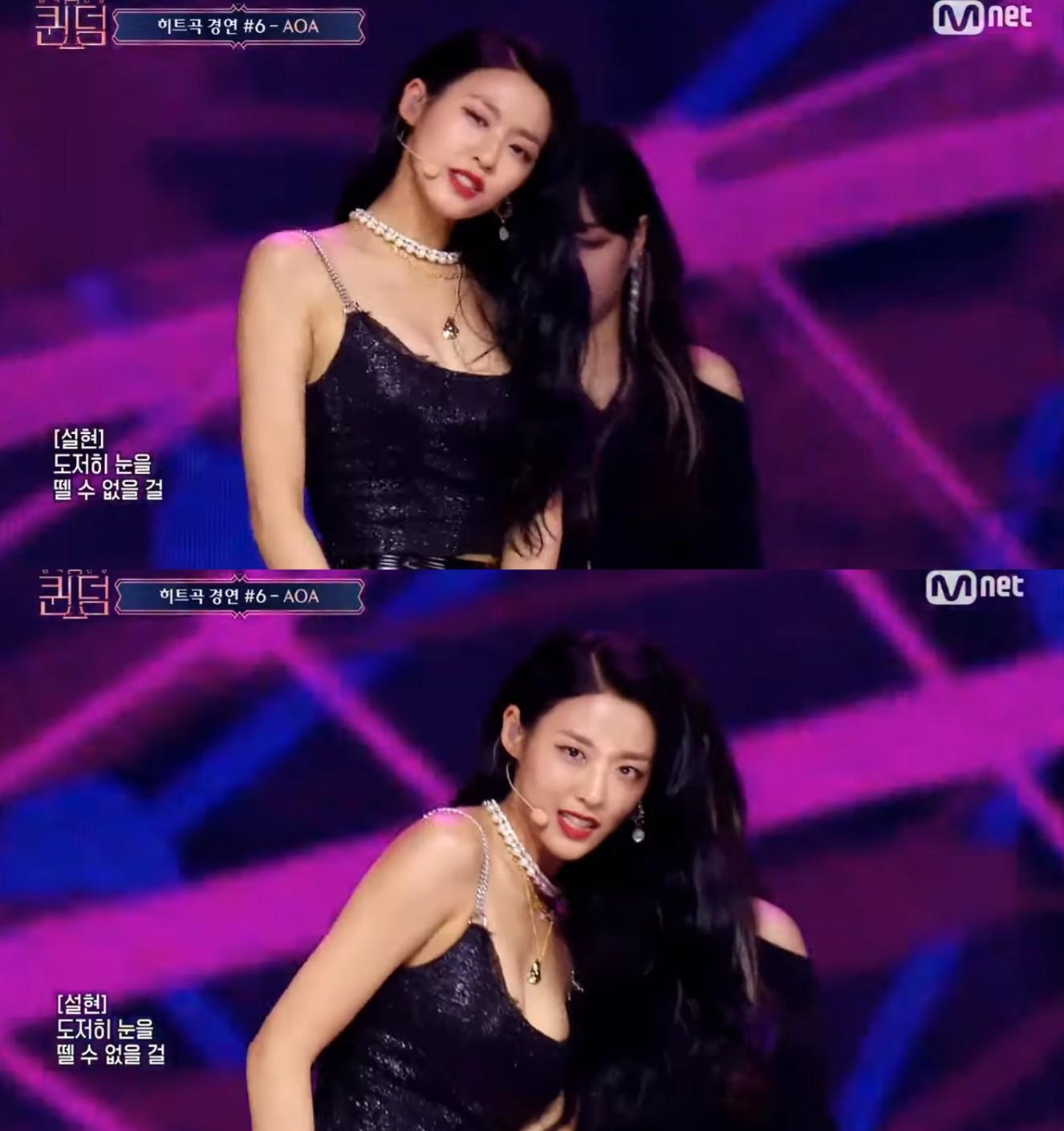 ▲雪炫小露性感胸線。(圖/翻攝自Mnet K-POP YouTube)