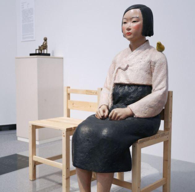 ▲在日本本土召集的慰安婦被稱為「女子挺身隊」。圖為「女子挺身隊」的塑像。(圖/路透)