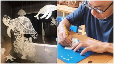 社會學博士愛上紙雕!白紙雕活海洋生物 魏少君拉近人們與海的距離