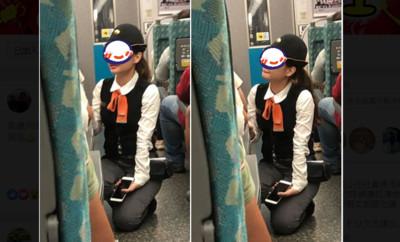 高鐵正妹列車長扁嘴微笑跪地 網:戀愛