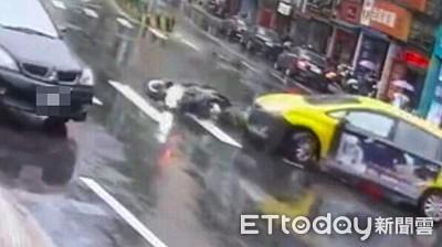 遇違規計程車 男騎士人車滑進車底
