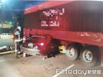 瑪莎拉蒂猛撞貨櫃車...駕駛慘死驚悚畫面曝!