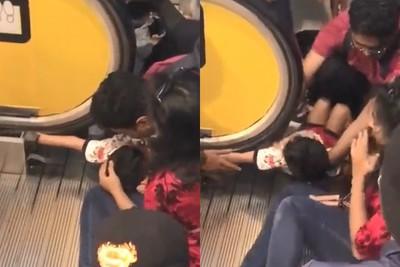 3歲男童手臂遭電扶梯扶手捲入卡住