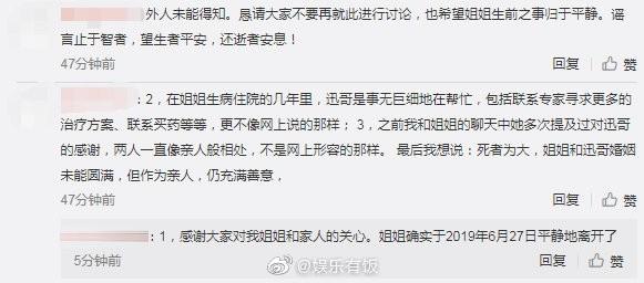 ▲王迅前妻魏臻的妹妹證實魏臻已病逝。(圖/翻攝微博/娛樂有飯)