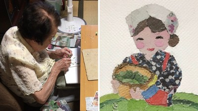 90歲嬤太想念病逝老伴 日夜「拼貼報紙」化解悲傷 如今成了藝術家