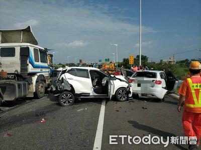 即/國道2號6車連環追撞 3人受傷送醫