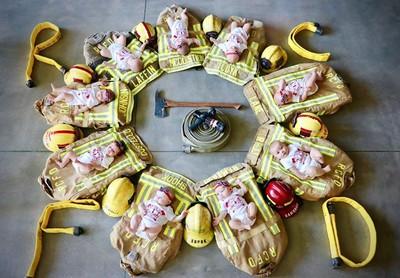 消防局5個月9人當爸 嬰躺裝備似向日葵