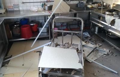 國軍操演 震碎國小廚房天花板