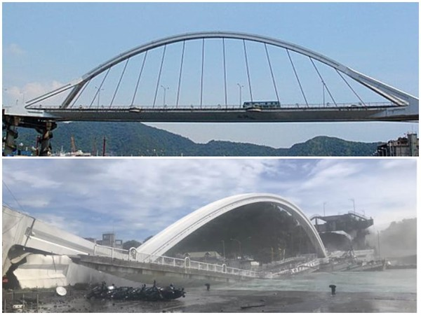 ▲▼南方澳跨港大橋坍方對比照。(圖/翻攝宜蘭知識+)