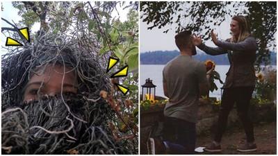 超犧牲!淘氣妹扮成「矮樹叢」 完美隱身偷拍姊姊被求婚