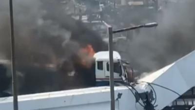 斷橋油罐車起火 加油站員工勇救司機