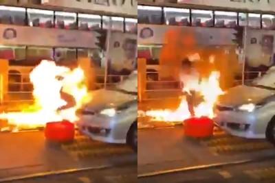 港警被毆倒地 遭丟汽油彈「燒成火球」