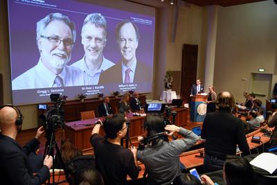 即/3美英學者共同獲頒諾貝爾生醫獎