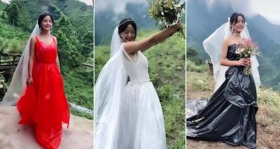 21歲正妹穿自製「塑膠婚紗」爆紅