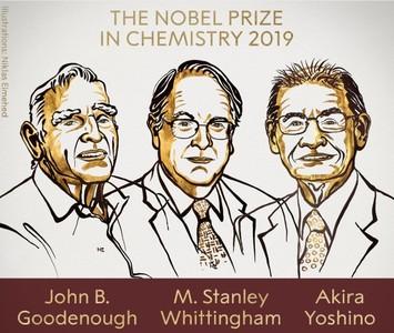 諾貝爾化學獎 3學者「發明鋰電池」獲獎