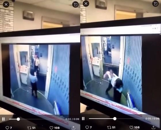▲▼ 美國共和航空機師和空服員女友吵架互毆。(圖/翻攝自Youtube/Horifing Moment Videos)