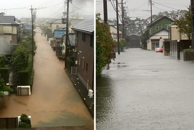 哈吉貝暴風圈觸日!靜岡多處淹水