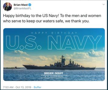 美議員誤用俄「彼得大帝巡洋艦」祝海軍建軍