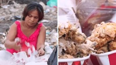 捏死蛆蟲洗一洗照吃!直擊窮母窩垃圾場挑雞骨頭 全家六口吃廚餘度日