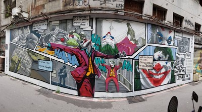 西門町有9米寬「小丑主題漫畫牆」