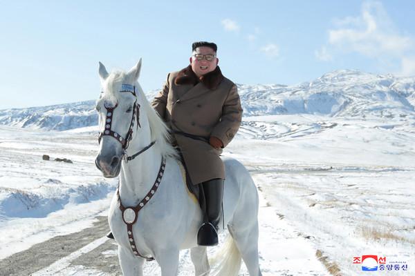 ▲▼金正恩在白頭山(長白山)騎白馬。(圖/朝中社)