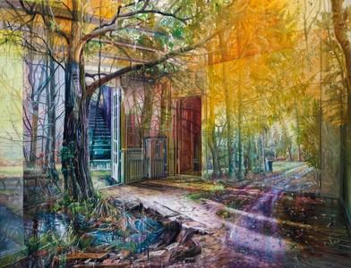 層疊油畫模糊了現實與想像