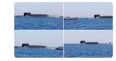 解放軍核潛艦南海上浮 同框越南漁船