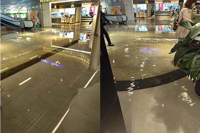 桃機二航廈美食街 開幕4個月就積水